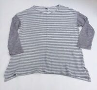 Van Heusen Shimmer Striped Open Knit Sweater - Gray/White (Size Medium)