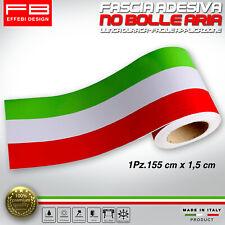 Fascia Striscia Adesiva Tricolore Ialia Flag Stripes Bandiera Italy 155 x 1,5 cm