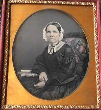 ELDERLY WOMAN TINTED CHAIR BONNET LACE REVOLUTION 1/6 PLATE DAGUERREOTYPE D271