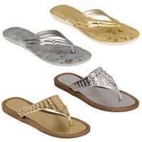 Ladies Sandals Womens Diamante Slip On Slippers Toe Post Flat Summer Fashion New