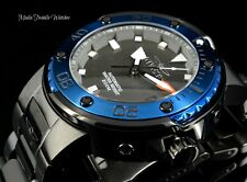 Invicta Mens 49mm GRAND Scuba Automatic BLUE BEZEL ALL Black Case Bracelet Watch