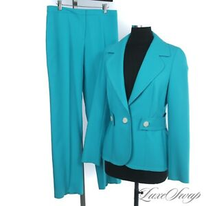SUPER VIBRANT Escada Aqua Caribbean Turquoise Blue Back Belted Pant Suit 2PC 40