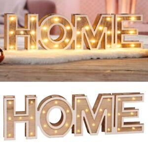 LED Dekoleuchte Holz Dekoration Schriftzug Home Stimmungsleuchte warm-weiß