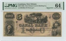 1850s $100 New Orleans Canal Banking Louisiana PMG MS64