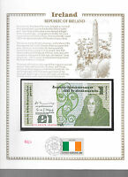 Ireland Banknote 1 Pound 1981 P 70b UNC w/FDI UN FLAG STAMP Prefix CLG