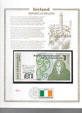 Ireland Banknote 1 Pound 1981 P70b GEM UNC w/FDI UN FLAG STAMP Prefix CLG