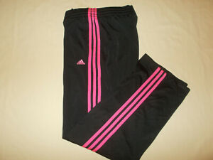 ADIDAS BLACK W/PINK STRIPES ATHLETIC PANTS WOMENS MEDIUM EXCELLENT CONDITIOIN