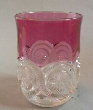 8ma109 EAPG PRESSED GLASS  CRANBERRY STAIN TUMBLER