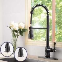 Spring Single Handle Kitchen Faucet Pull Down Spray Oil Rubbed Bronze Base Cover