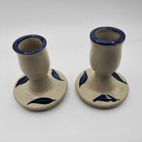 2 Vintage Williamsburg Candlestick Holders Cobalt Salt Glaze Pottery Blue
