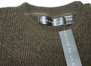 Oscar de la Renta Mens Knit Sweater Large Olive Green Made USA Cotton NWT