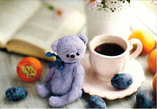 CUTE TEDDY BEAR OF LILAC COLOR Photo of handmade toy Modern Russian postcard