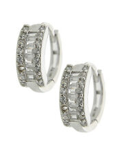 925 Sterling Silver Huggie Earring Set / Clear Cubic Zirconia