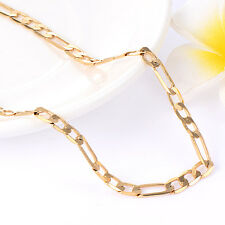 18K Yellow Gold Plated Cuban Link Chain Necklaces Mens Jewelry 5mm