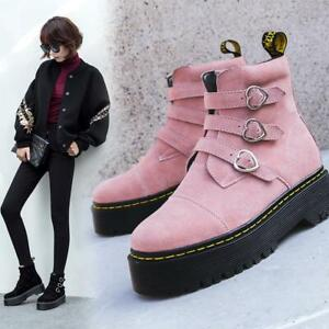 Fashion Womens Round Toe Heart Buckle Strap Ankle Boots Punk Motorcycle Shoes Sz