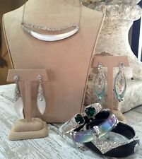 Alexis Bittar Silver Lucite & Swarovski Crystal Elongated Necklace