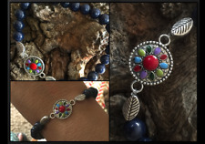 Native American Lapis Lazuli Coral Agate Jasper Turquoise Feather Bracelet