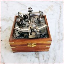 Nautical Brass Working Maritime Sextant 4'' With Wooden Box Decor Item Gifts