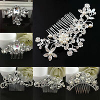 Bridal Rhinestone Crystal Pearl Flower Hair Clip Hair Comb Wedding Party Jewelry