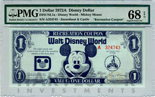 1972 DISNEY DOLLAR - RECREATION COUPON - CERTIFIED PMG 68 EPQ - FINEST KNOWN