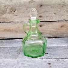 Vintage Green Depression Vinegar Cruet Glass Vaseline Uranium Hazel Atlas 1930's
