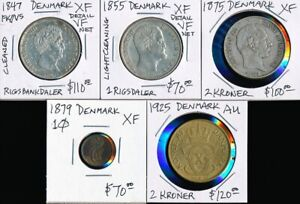 5 OLD DENMARK COINS >(1847-1925) * CV $470 USD * SEE IMAGES > NO RESERVE
