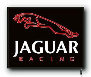 JAGUAR RACING LED ILLUMINATED WALL LIGHT UP SIGN LOGO GARAGE AUTOMOBILIA GAS OIL