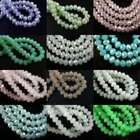 100Pcs Faceted Glass Crystal Rondelle Loose Beads Spacer Jewelry Findings 6x4mm