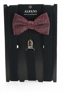 $90 New Alfani Men'S Black Stretch Suspender Red Speckle Bow Tie Combination Set