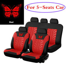 Car Seat Cover Full Set Butterfly-Pattern Embroidery Auto Interior Accessories
