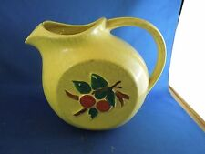 Vintage McCoy Yellow Pitcher with Painted Cherries Has Ice Cube Lip