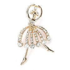 New Fashion Women Ballerina Rhinestone Brooch Crystal Gold Plated Ballet Girl