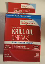 WALGREENS 100% PURE KRILL OIL OMEGA-3 EXTRA STRENGTH 500 mg-45 CT Exp 11/2019