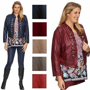 MAGNA Designer Damen Jacke Military-Look Lederoptik Lagenlook Blazer Kurzjacke