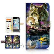 ( For iPhone 6 / 6S ) Wallet Case Cover P21448 Wolf
