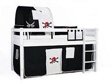 Spielbett Hochbett Kinderbett massiv buche weiß Vorhang Pirat 2tlg.
