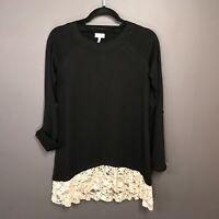 LOGO Lounge Lori Goldstein Soft Oversize Tab-Sleeve Tunic with Lace Hem Size XS