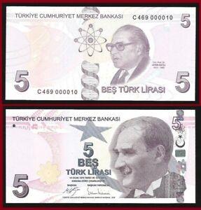 """Turkey 5 Lira 2009 / 2021 P 222 B Prefix """"C"""" UNC * @ LOW SERIAL :000010 ***"""