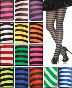 Leg Avenue Stripe Nylon/Poly Opaque Tights/Pantyhose Asso Colors Regular & Plus