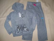 NEW Set of Girls Small 5/6 Track Suit Childrens Place Fleece Pants & Hoodie