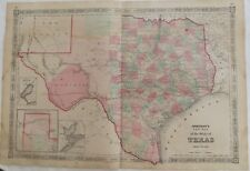 "1864 Civil War Era ""Texas Indian Territory"" Johnsons Antique Map Atlas"