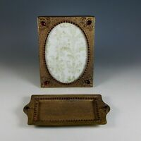 Antique Gilt Filigree and Jeweled Photo Frame and Card Tray