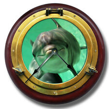"10.5"" Dolphin Brass Porthole Wall Clock - Home Wall Decor - 7135_FT"