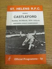 03/03/1974 liga de rugby programa: St Helens V Castleford. artículo parece ser