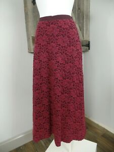 anthropologie Meadow Rue Womens Small Red Lace A Line Midi Skirt BB