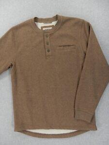 LL Bean Katahdin Iron Works Bonded Waffle Fleece Henley Shirt (Mens Medium)