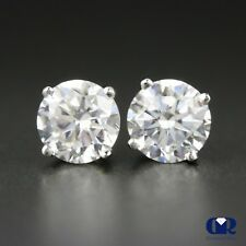 1.30 Ct Round Cut Diamond Stud Earrings 14K With Screw Back