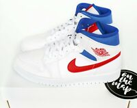 Nike Air Jordan 1 Retro Mid W White Red Royal Blue UK 3 4 5 6 7 8 9 10 US New