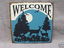 Welcome Deer scene lodge decor metal sign vintage look
