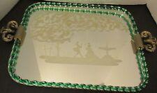 "Vtg Venetian Murano Glass Twist Green Rope Tray 18x14"" Bar Vanity Etched Scene"